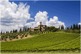 Castello Banfi Winery in Montalcino, Tuscany. Photo courtesy of Mākena Beach & Golf Resort.