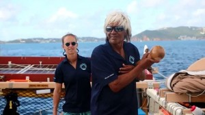 Hōkūle'a on its arrival to the US Virgin Islands. Courtesy photo: PVS.