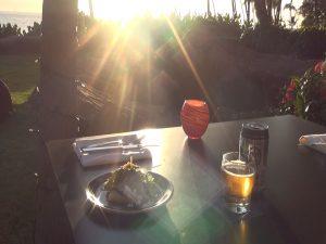 Food and beer at sunset at Japengo. Photo by Kiaora Bohlool.