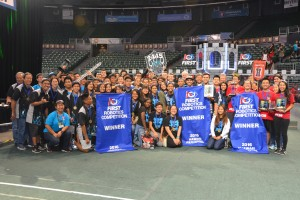 Winners of the 2016 Hawaii FIRST Robotics Competition: Kapolei High School (left), Alliance Captain Baldwin High School (middle) and Iolani School (right).