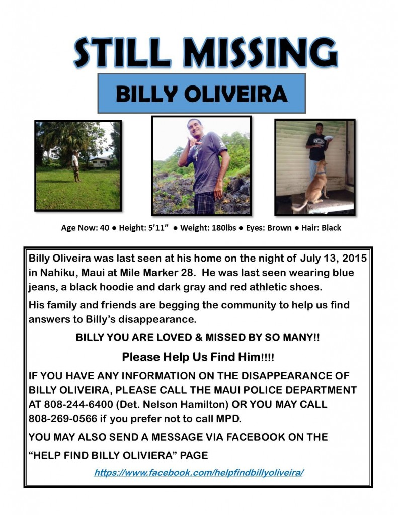 Still Missing Billy Oliveira flyer.