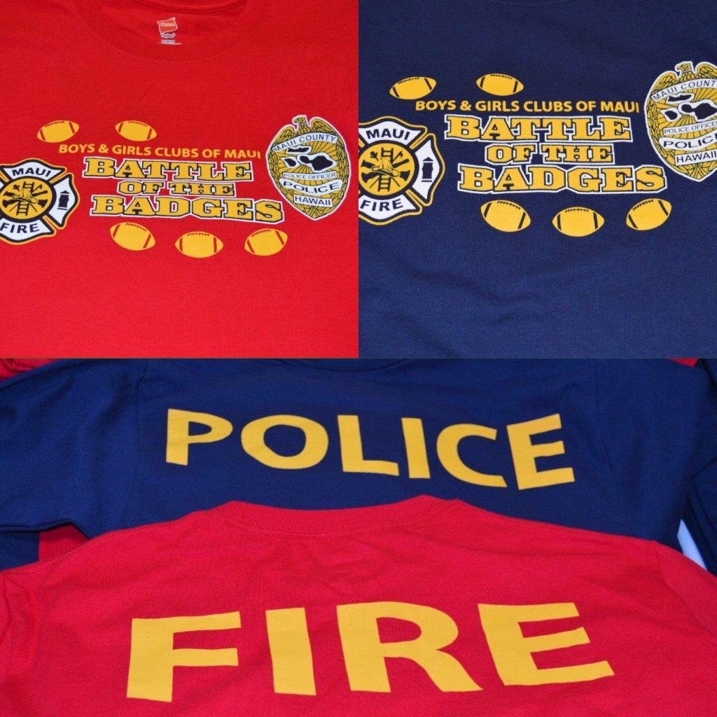 Battle of the Badges t-shirts are $20 each and get you free admission into the event. Photo credit: Boys & Girls Clubs of Maui.