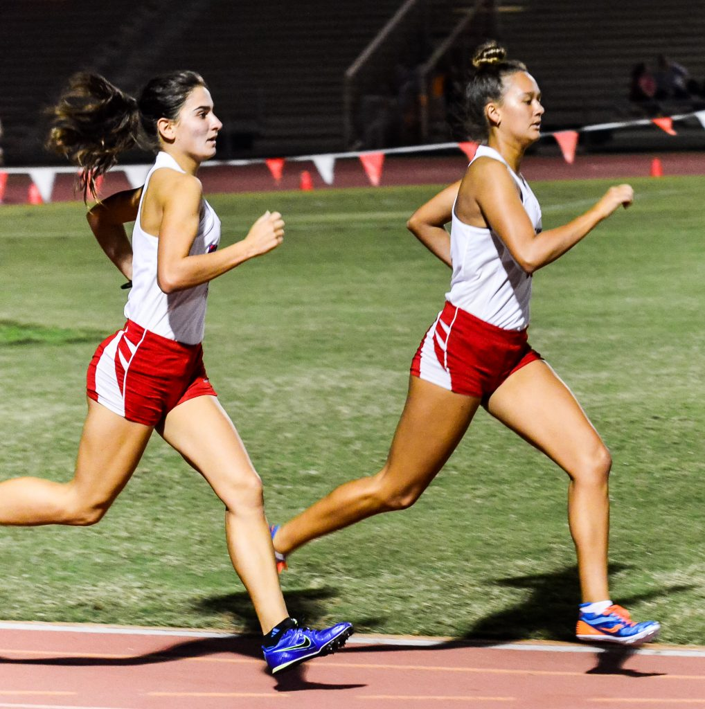 Seabury Hall's top distance runners, Ava Shipman (right) and Veronica Winham hope to duplicate their early-season success at the MIL championship finals Saturday. Photo by Rodney S. Yap.