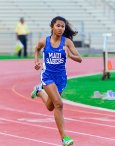 Maui High freshman Alyssa Mae Antolin was a triple winner in the sprints last week at the Kamakea Meet, winning the 100, 200 and 400. Photo by Rodney S. Yap.