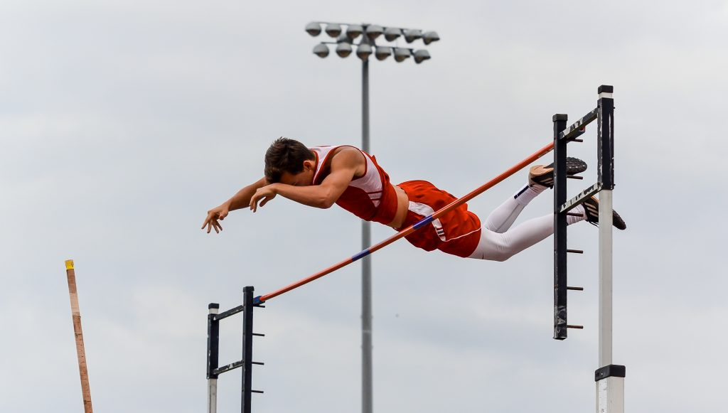Lahainaluna's Anis Bel clears the pole vault bar at 14 feet Friday. Photo by Rodney S. Yap.