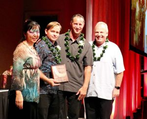 Aipono Awards ceremony participants included (from left) Pacific Biodiesel Vice President Kelly King, Westin Maui Landscaping Manager Duane Sparkman, Engineering Director Derek Fletcher and Resort General Manager Tony Bruno.