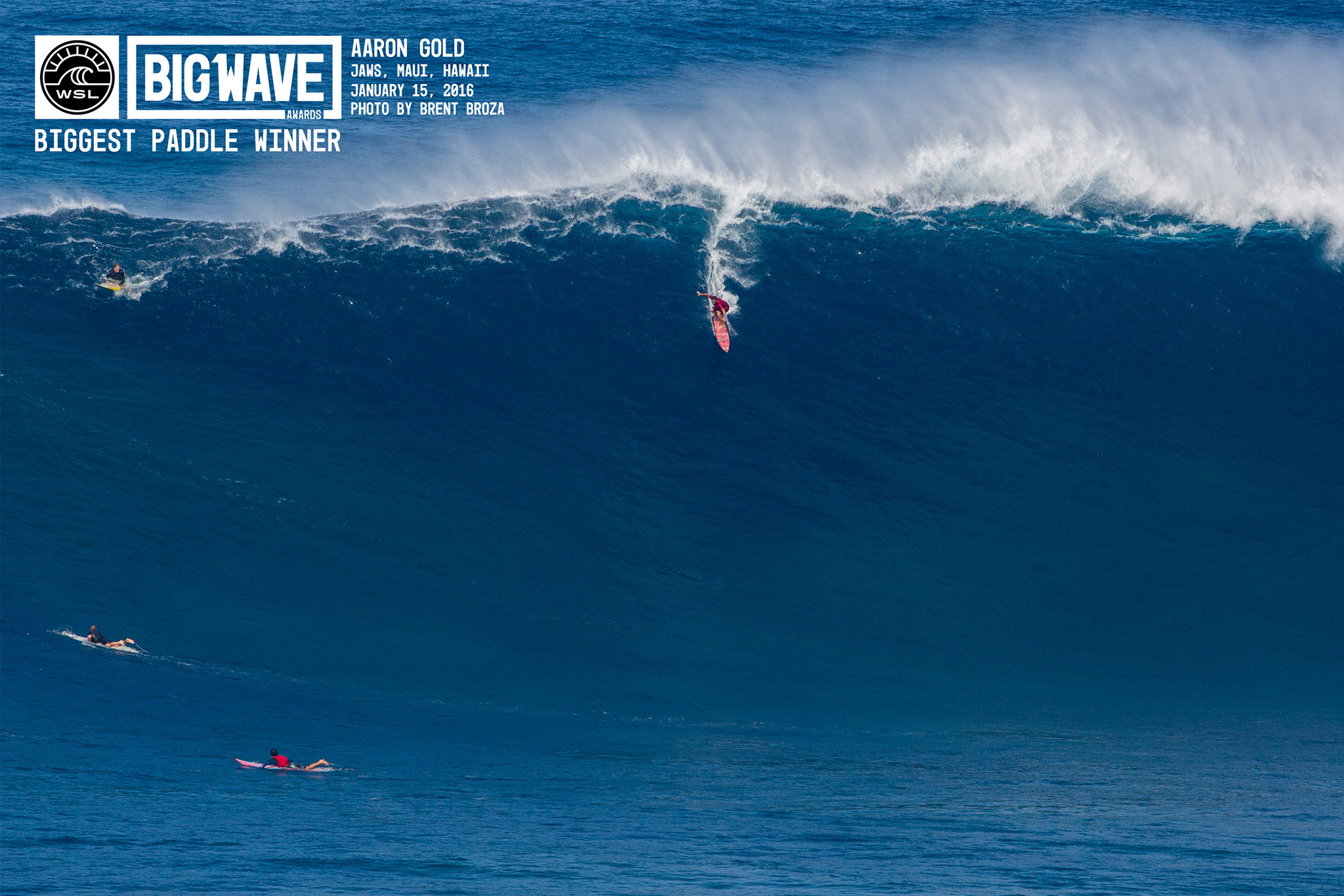 Aaron Gold won the biggest paddle wave award and also set a new world record at 63 ft. Photo: WSL