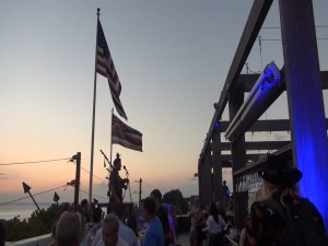 Sunset ceremony with bagpipes at Fleetwood's on Front Street in Lahaina. Photo by Kiaora Bohlool.
