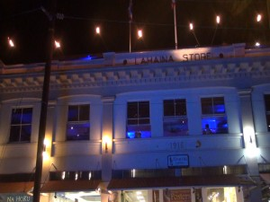 Fleetwood's on Front Street, lit up blue on April 2. Photo by Kiaora Bohlool.