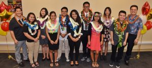McDonald's Restaurants of Hawaii scholarship presentation participants included (left to right) Ed Yamamura, McDonald's Restaurants of Hawaii owner/operator; Dena Austria, McDonald's of Maui; Li Xia Peng, McDonald's of Discovery Bay; Sharmaine Pascua, McDonald's of Kīhei; Lucky Dave Magarin, McDonald's of Maui; Sheena Ann Castillo, McDonald's of Maui; Zachary Espino, McDonald's of Waimanalo; Abegail Cabudol, McDonald's of Laulani; Kristianee Francisco, McDonald's of Salt Lake; Nicholas Ige, McDonald's of Waipahu; Martin Lau, McDonald's Restaurants of Hawaii multi-department head. Missing from the photo is Joyce Yoo, McDonald's of Wahiawa. Photo of courtesy of McDonald's Restaurants of Hawaii.