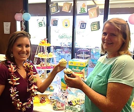 "The Maui County Office on Aging had a ""Baby Shower"" themed staff meeting to benefit local nonprofit Mālama Family Recovery Center. Image: Frances Duberstein and Monica Morakis. Photo credit: Frances Duberstein."