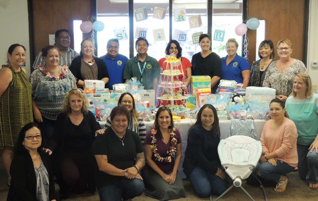 "The Maui County Office on Aging had a ""Baby Shower"" themed staff meeting to benefit local nonprofit Mālama Family Recovery Center. Photo credit: Frances Duberstein."