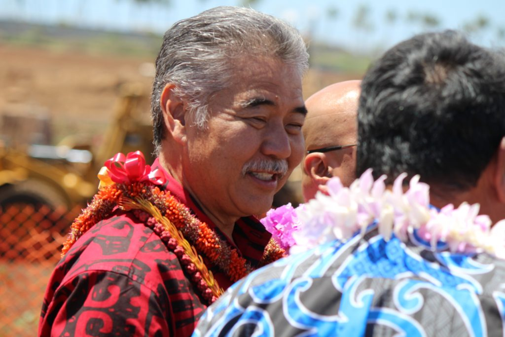 Governor David Ige at the groundbreaking of Maui's Kahului Airport Consolidated Rent-A-Car facility. Photo by Wendy Osher. (4.15.16)
