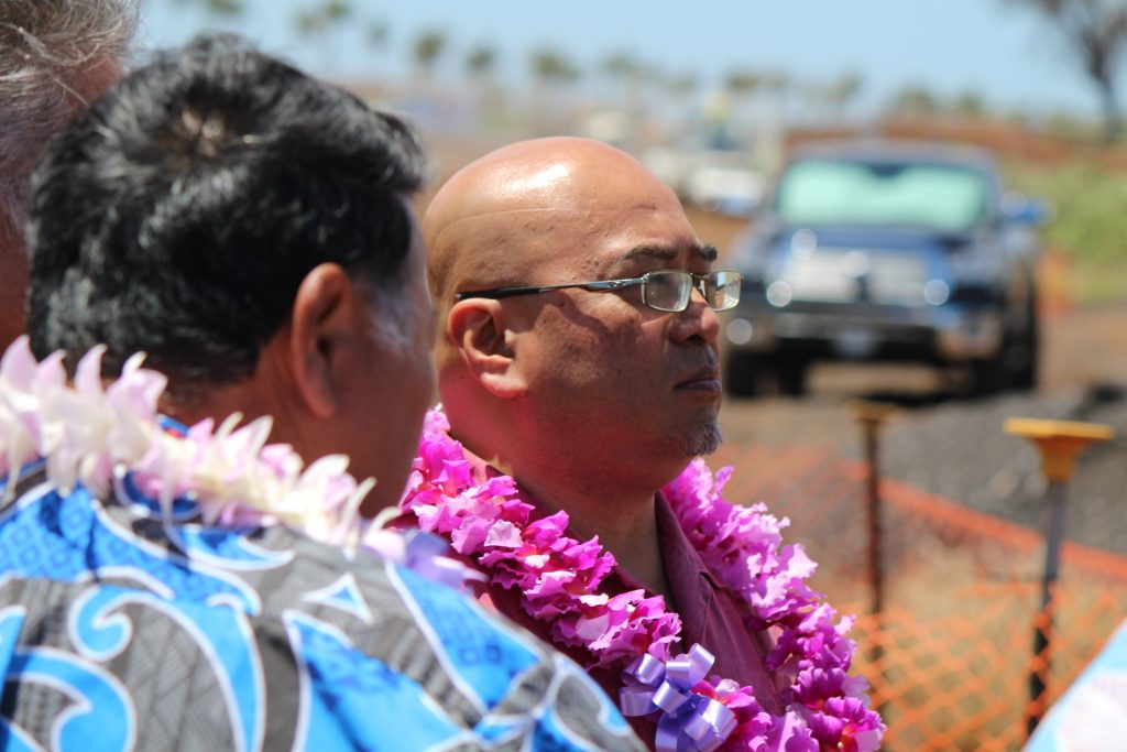 Senator Gil Keith-Agaran at the groundbreaking of Maui's Kahului Airport Consolidated Rent-A-Car facility. Photo by Wendy Osher. (4.15.16)