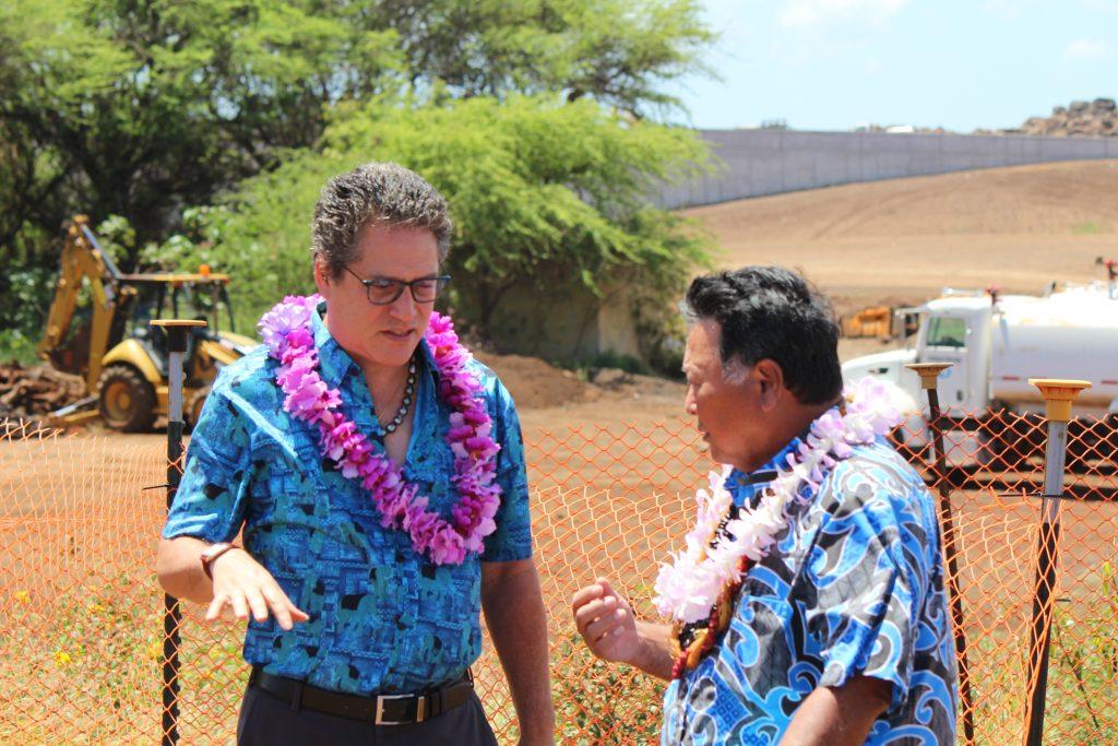 Senator J Kalani English (left) speaking with Maui Mayor Alan Arakawa (right) at the groundbreaking of Maui's Kahului Airport Consolidated Rent-A-Car facility. Photo by Wendy Osher. (4.15.16)