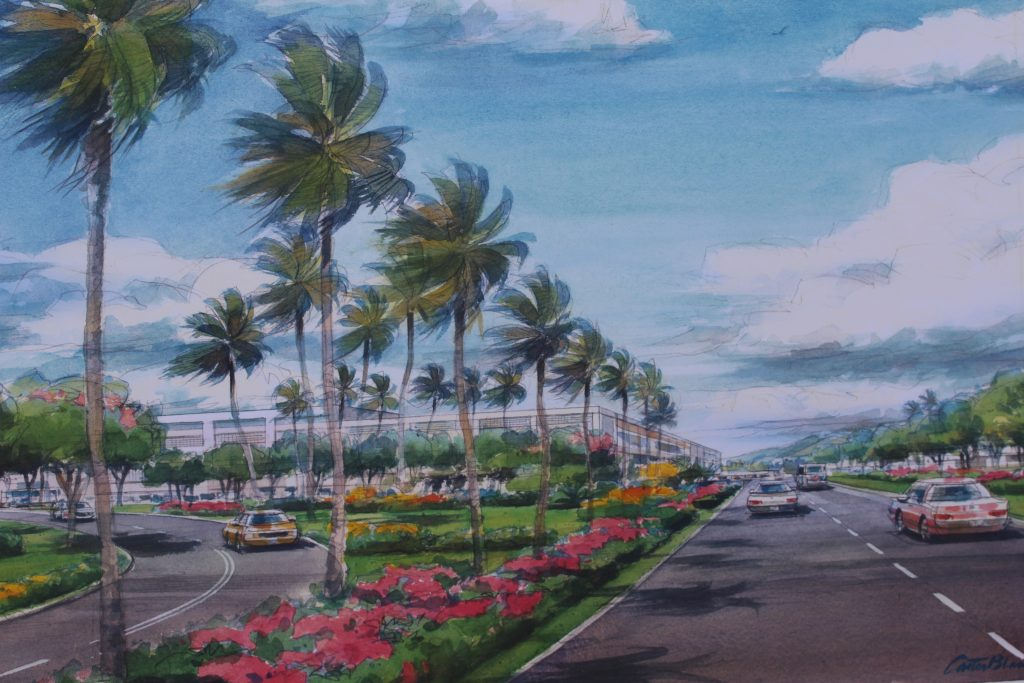 New Access Road looking toward terminal. Project renderings of the Kahului Airport Consolidated Rent-A-Car facility. Photo by Wendy Osher. (4.15.16)
