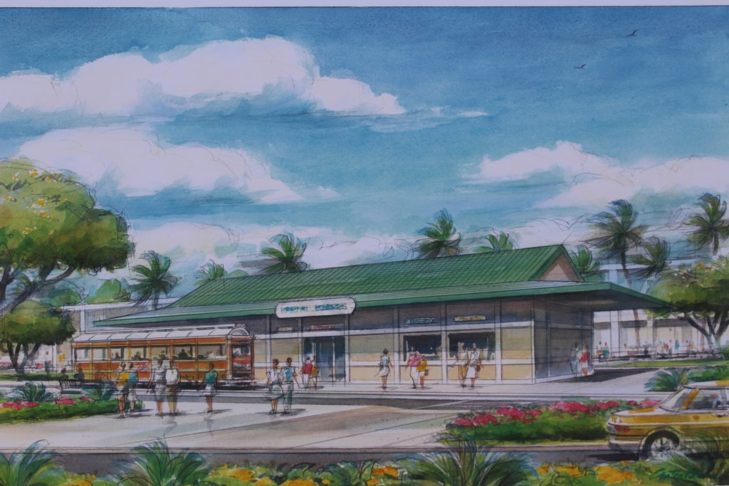 Passenger Tram Station looking toward terminal. Project renderings of the Kahului Airport Consolidated Rent-A-Car facility. Photo by Wendy Osher. (4.15.16)