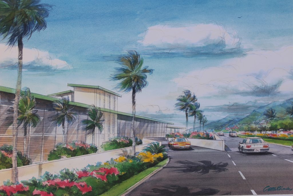 Rental Car Return to new facility. Project renderings of the Kahului Airport Consolidated Rent-A-Car facility. Photo by Wendy Osher. (4.15.16)
