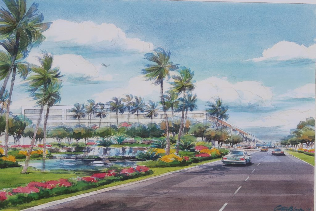 New Access Road Water Feature with the new rental car facility in the background. Project renderings of the Kahului Airport Consolidated Rent-A-Car facility. Photo by Wendy Osher. (4.15.16)
