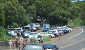 Twin Falls parking area long the Hāna Highway. File photo by Wendy Osher.