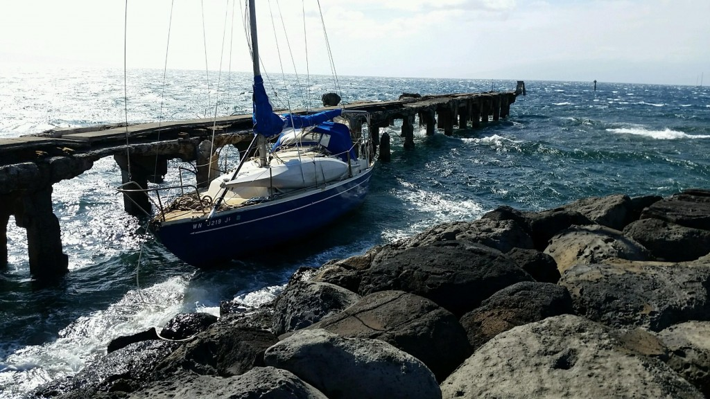 Sailboat breaks free from its mooring in West Maui. Photo 4.6.16 credit Maui Department of Fire and Public Safety.