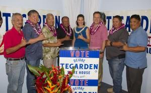 "(Left to right) Jason Medeiros, Clyde Hayashi, Barry Aoki, Gino Soquena, Deidre Tegarden, Tom Donovan, William ""Willy"" Greig and Joseph Aquino at Tegarden's press conference. Courtesy photo."