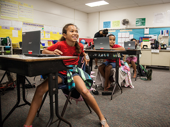 A celebration assembly was held Friday, April 8, at Kaunakakai Elementary to mark the completion of a hybrid solar air conditioning installation project. Sixth-grader and Student Council President Leonahemaikekaimalie Crivello was commended for helping the project become a reality. Photo credit: Hawaiʻi Department of Education.