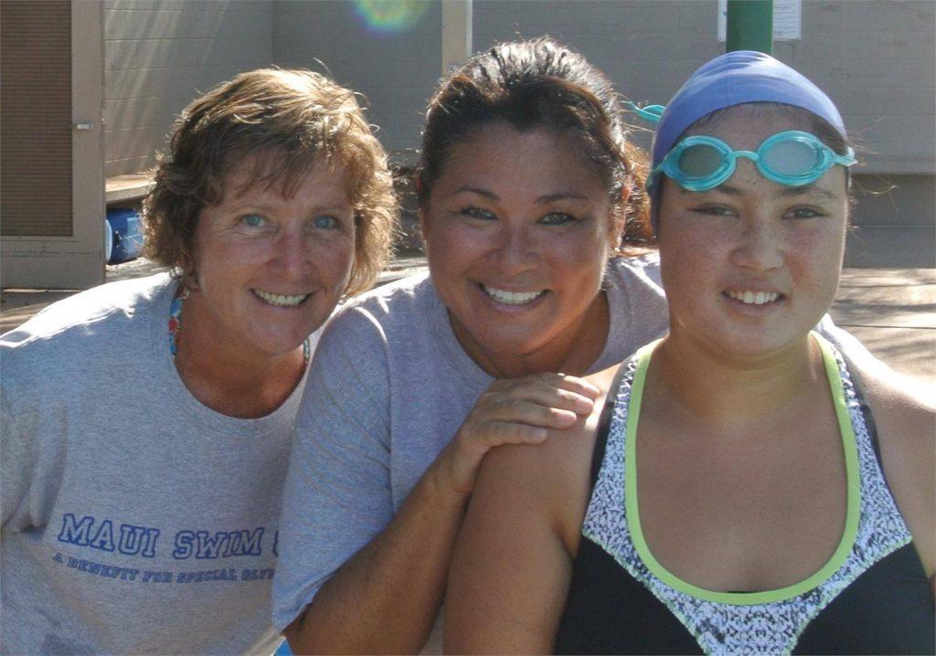 Marie White, Swim & Fin Volunteer Coach / Toni Rojas, Swim & Fin Volunteer Parent / Nikilani Rojas, Special Olympics Maui Athlete. Photo credit: Toni Rojas.