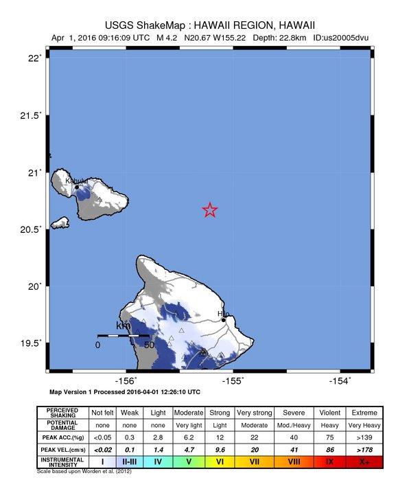 Hawaiʻi earthquake. 3.31.16. Image courtesy USGS.