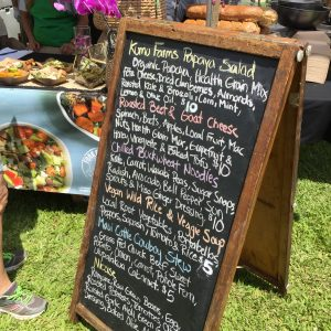 Menu from Fork & Salad's booth at Maui County Ag Fest.