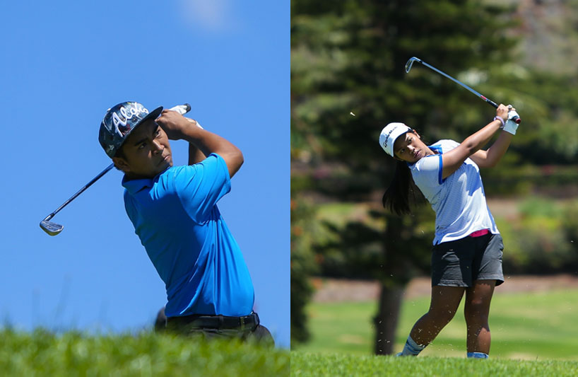 Jasmine Cabajar of Maui High (right) and Justin Arcano of Baldwin (left) are both in the lead in the 2016 Individual Golf Championships after the semi-final round at Kāʻanapali. Photo credit: Aric Becker.