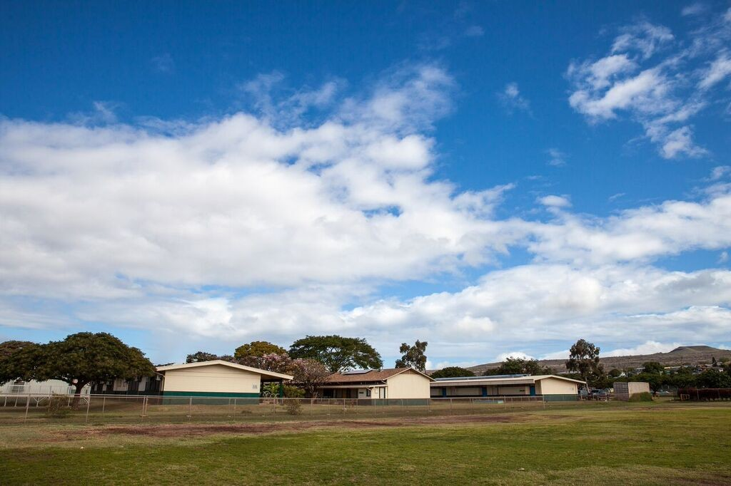 A celebration assembly was held Friday, April 8, at Kaunakakai Elementary to mark the completion of a hybrid solar air conditioning installation project. 33 units were installed in 18 classrooms. Photo credit: Hawaiʻi Department of Education.