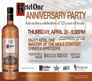 Fleetwood's Mixology Contest and party will happen Thursday, April 28 in Lāhainā. Courtesy image.