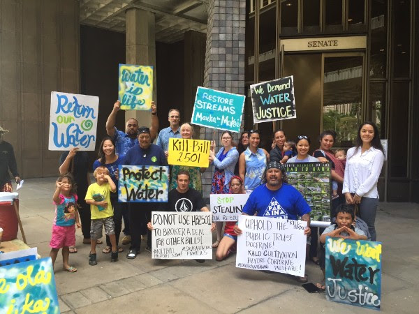 """""""Return Our Water!"""" Demand Residents and Taro Farmers Advocates take concern directly to Alexander & Baldwin's shareholders. Photo credit: Sierra Club Hawaiʻi."""