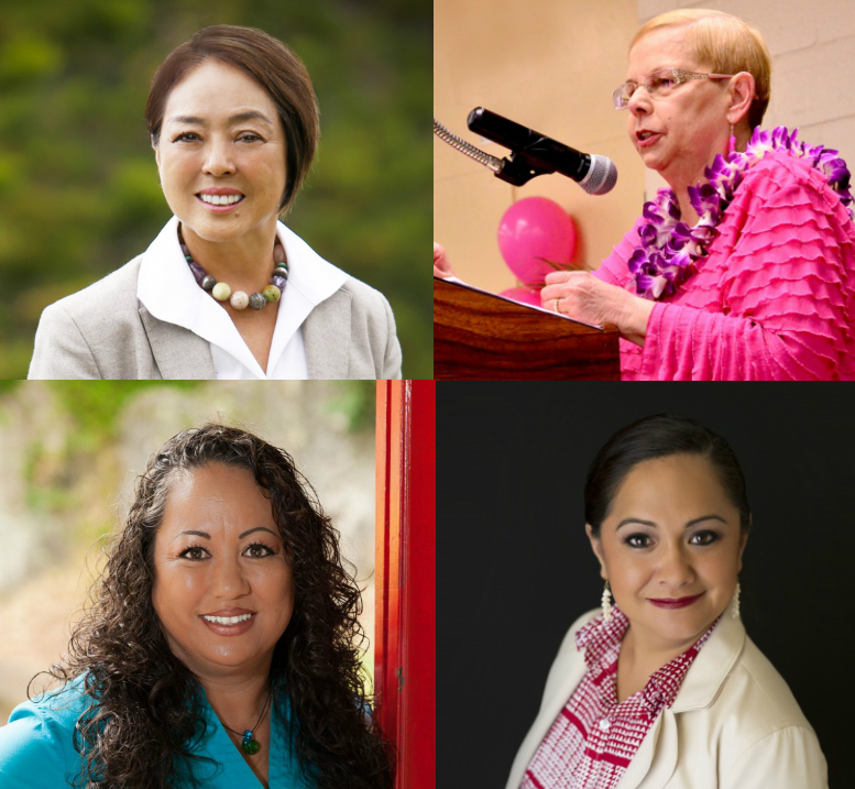 Four candidates are currently vying for the Upcountry County Council seat as member Gladys Baisa (top right) reaches her term limit. Candidates include: Stacey Moniz (bottom left), Eric Molina (no picture available), Yuki Lei Sugimura (top left), and Nāpua Greig Nakasone (bottom right).