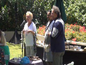 Shelley Kekuna, executive director of the Kā'anapali Beach Resort Association, introduces Vij during a cooking demo at Hyatt Regency Maui. Photo by Kiaora Bohlool.