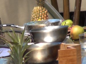 """Pots and produce at """"Cooking without Borders: Ring of Fire"""" demo at Hyatt Regency Maui. Photo by Kiaora Bohlool."""