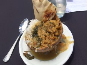 """Chicken curry in its finished form at """"Cooking without Borders: Ring of Fire"""" cooking demo. Photo by Kiaora Bohlool."""