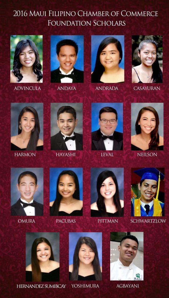 2016 Maui Filipino Chamber Foundation scholars. MFCF photo.