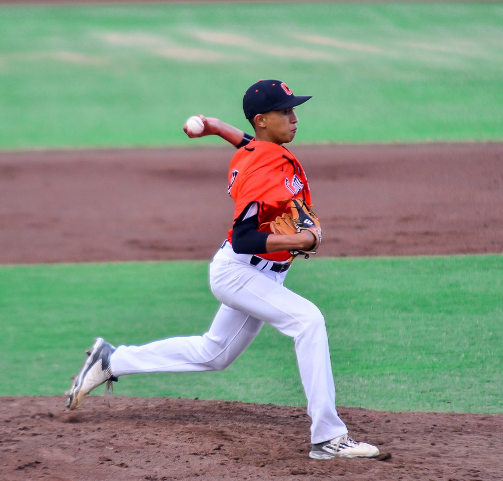 Campbell freshman Ayzek Silva pitched 2 1/3 scoreless innings of relief as the Sabersl cashed in on three Punahou errors for all its scoring in a 3-2 win Wednesday at Maehara Stadium. Photo by Rodney S. Yap.