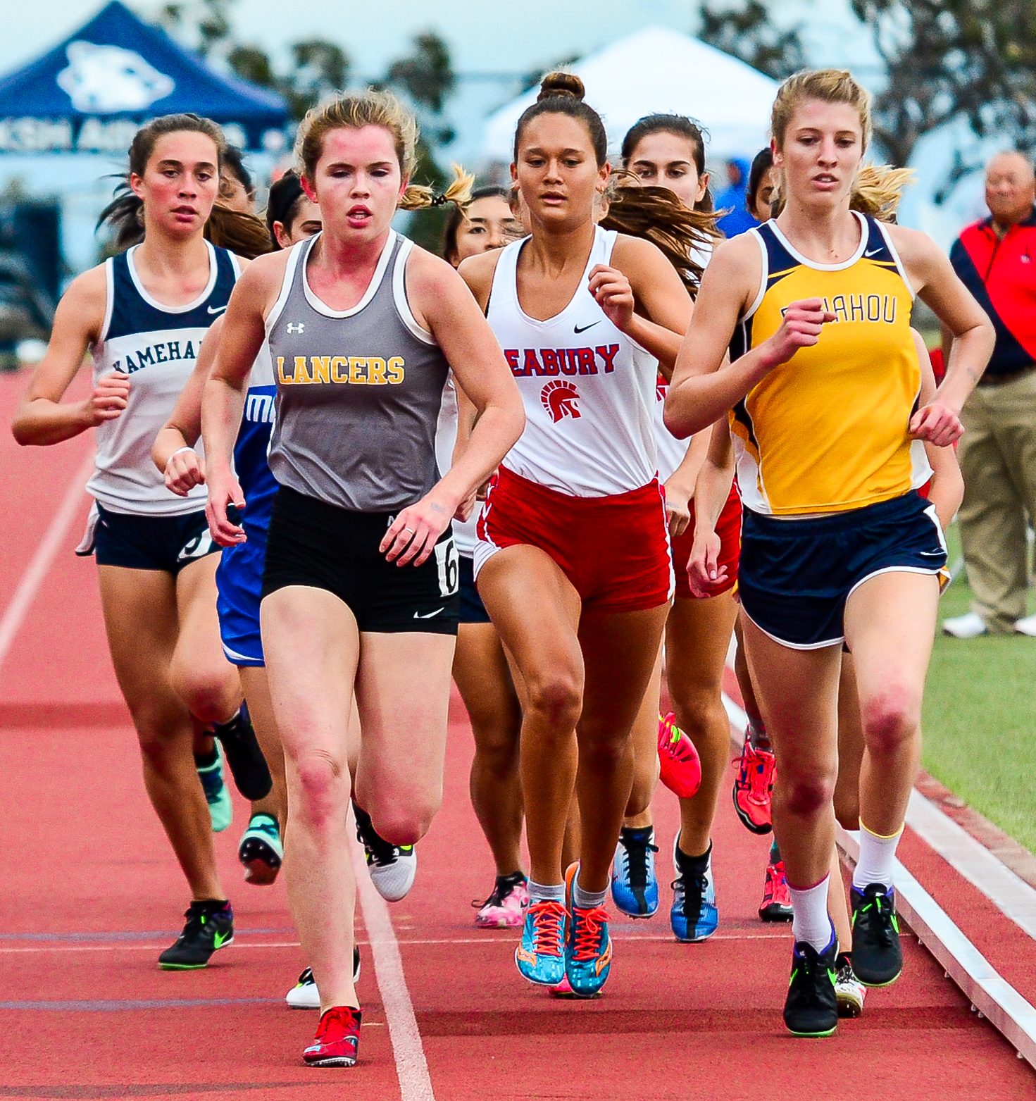 Seabury Hall's Ava Shipman recaps running the 1,500 at lat Saturday's state track and field championships on Oahu. Photo by Rodney S. Yap.