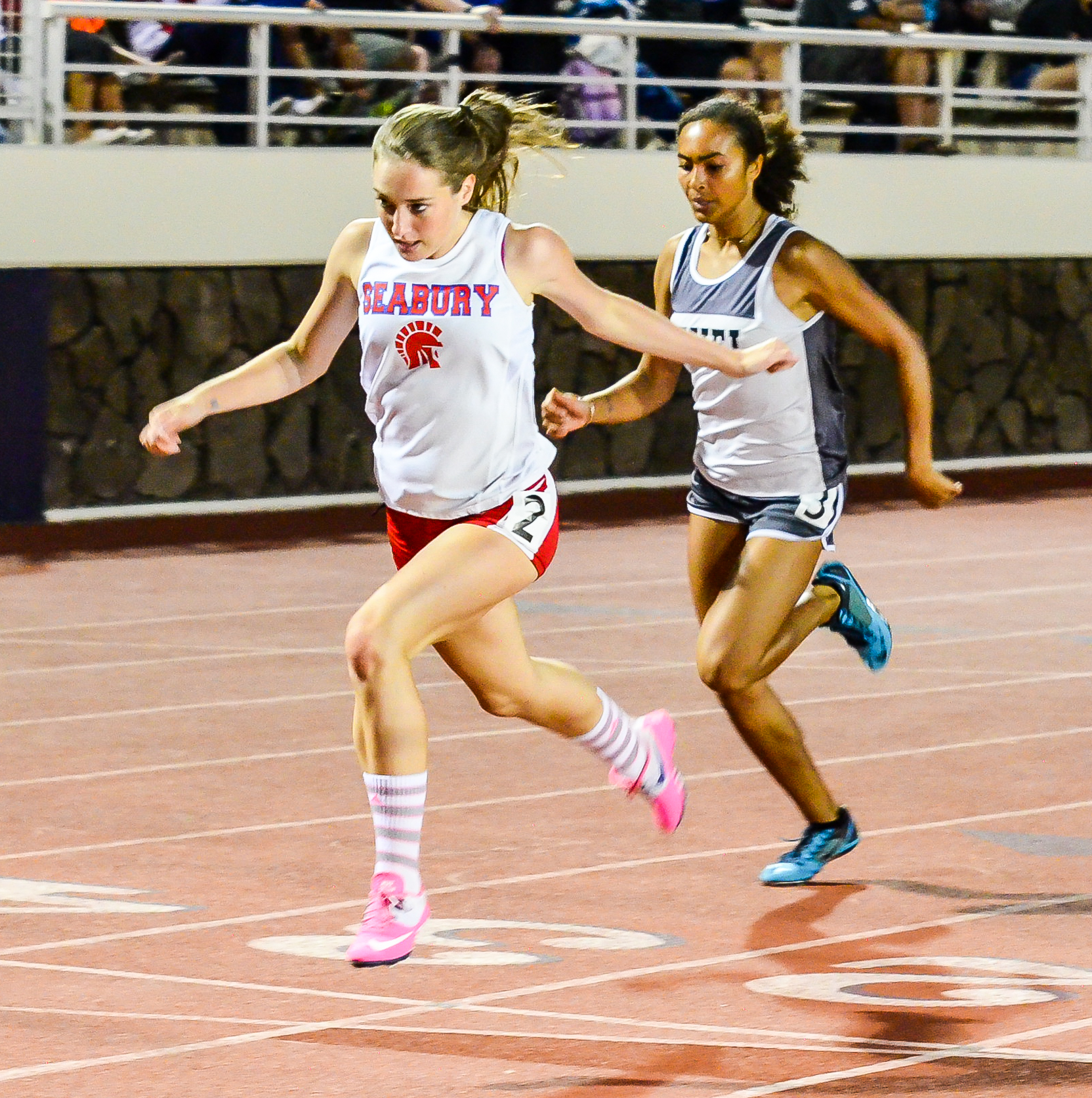 Seabury Hall's Claire Borthwick finished fifth in the girls 200-meter dash. Photo by Rodney S. Yap.