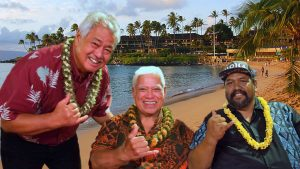 Masters of Hawaiian Music: George Kahumoku Jr., Richard Ho'opi'i and Kawika Kahiapo at Napili. MHM photo.