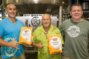 Officials show off hemp products at Maui Brewing Co. Courtesy photo.