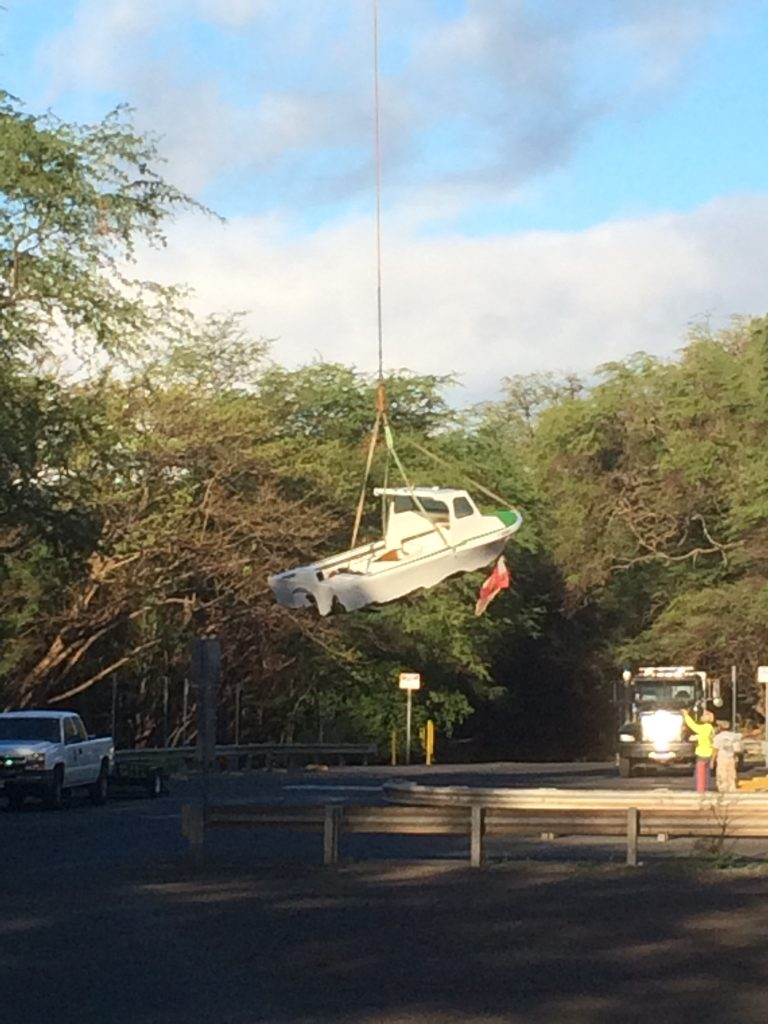"""Salvage photo. Grounded vessel at """"Little Beach"""" in the South Maui area of Mākena. Photo credit: DLNR."""