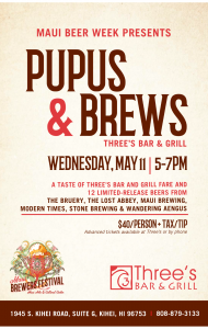 Pupus & Brews event at Three's Bar & Grill on May 11 from 5 to 7 p.m. Courtesy image.