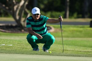 Jeff Moon lines up his putt on number eighteen during the playoff of the 2016 BMW Ultimate Challenge at Kāʻanapali Golf Resort Royal Course. April 30th, 2016. Photo credit: Aric Becker.