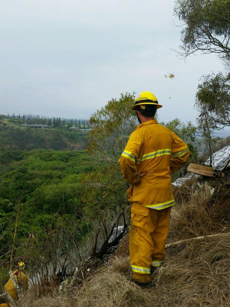 Honolua brush fire. Photo Credit: Fire Capt. Kaulana Kino