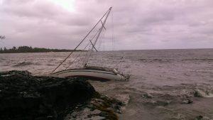 Boat grounded in Hāna. (5.8.16) Photo Courtesy: Carl Bertelmann.