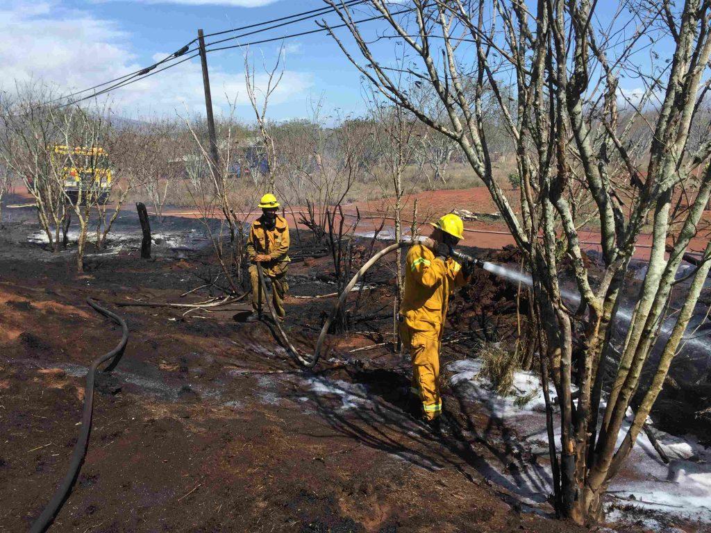 Hoolehua fire. Photo Credit : Maui Fire Department.